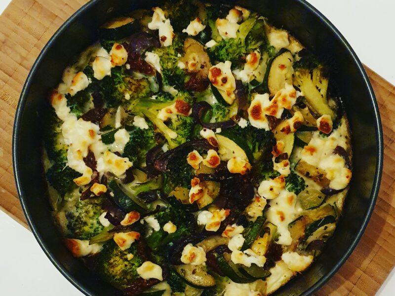 Quiche van broccoli, courgette en geitenkaas