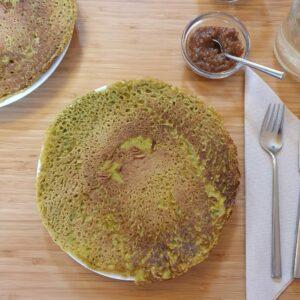 Mungbonen pannenkoek met gemberchutney